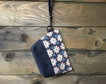 Navy Blue Dogwood Flower Large Waxed Canvas Zipper Pouch