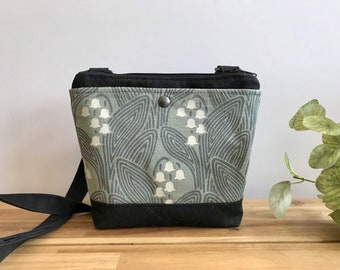 Small Waxed Canvas Purse - Lily of the Valley Pattern Bag - Cross Body Messenger Purse - Screen Printed Bag - Water Resistant