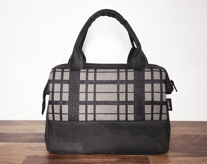 Ready to Ship - Waxed Canvas Project Bag - Gray Plaid Bag - Knitting Bag - Screen Printed Bag - Crochet Bag - Yarn Project Bag - Gift