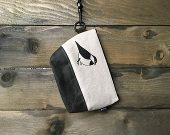 Large Off White Chickadee Waxed Canvas Cosmetic Bag/Project Bag with Detachable Handle