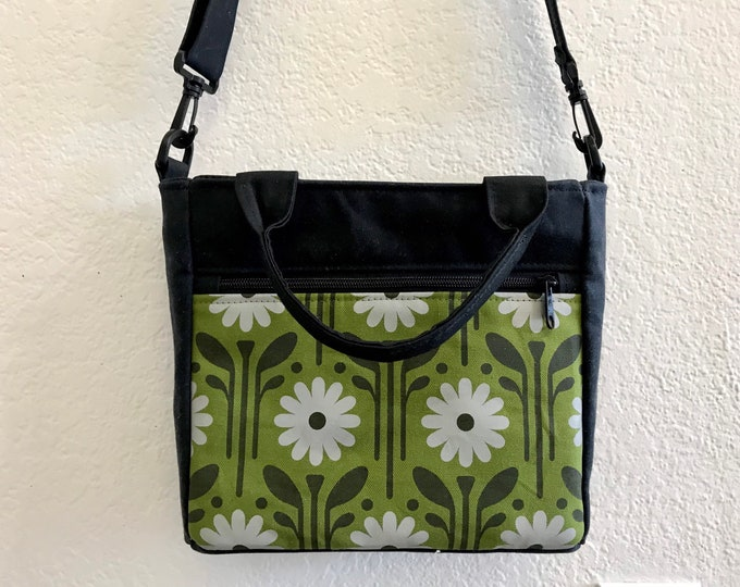 Made to Order - Waxed Canvas Tote Bag - Canvas Purse - Shoulder Bag - Cross Body Bag - Screen Printed - Green Daisy Bag - Water Resistant -