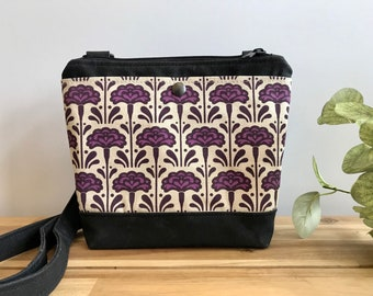 Waxed Canvas Purse - Carnation Pattern Bag - Cross Body Messenger Purse - Screen Printed Bag - Water Resistant