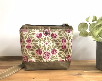Portland Roses Small Waxed Canvas Purse - Rose Fabric Bag - Cross Body Messenger Purse - Screen Printed Bag - Water Resistant