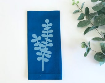 Eucalyptus Napkins - Cloth Napkins - Dinner Napkins with Screen Printed Eucalyptus Leaves - Set of 4 - Deep Teal - Housewarming Gift