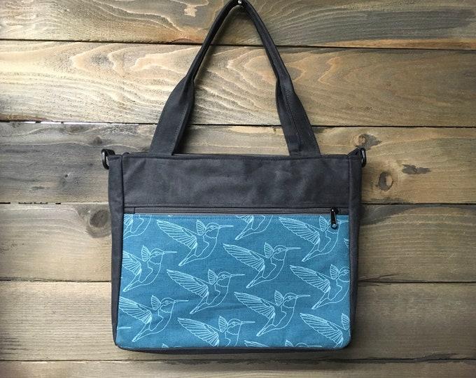Teal Hummingbird Extra Large Waxed Canvas Tote Bag