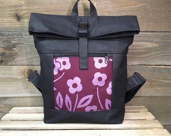 Burgundy Simple Flower Waxed Canvas Rolltop Backpack