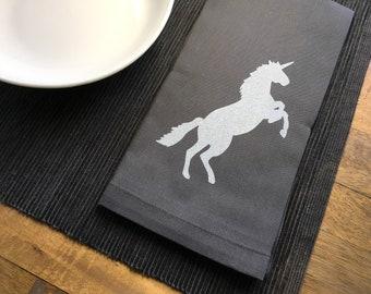 Charcoal Gray Unicorn Cotton Napkins