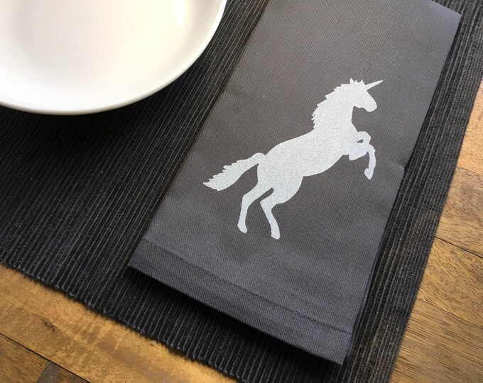 Charcoal Gray Unicorn Cotton Napkins