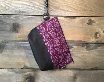 Large Burgundy Block Flower Waxed Canvas Cosmetic Bag/Project Bag with Detachable Handle