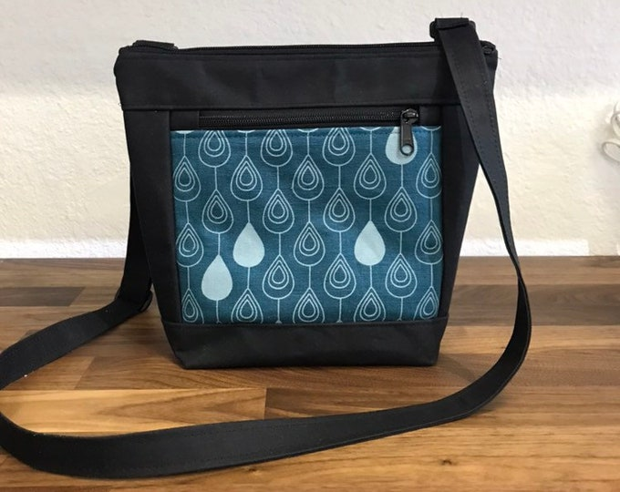 Black and Teal Raindrop Cross Body Waxed Canvas Bag