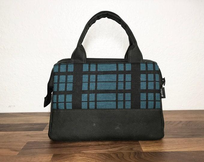 Made to Order - Waxed Canvas Project Bag - Teal Plaid Bag - Knitting Bag - Screen Printed Bag - Crochet Bag - Yarn Project Bag - Gift