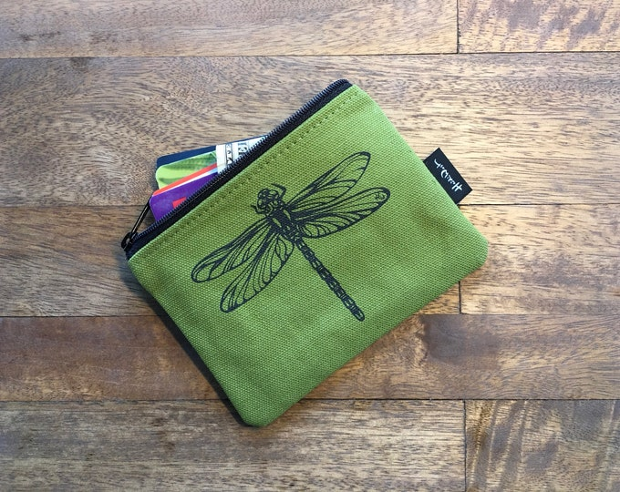 Olive Green Dragonfly Credit Card Zipper Pouch