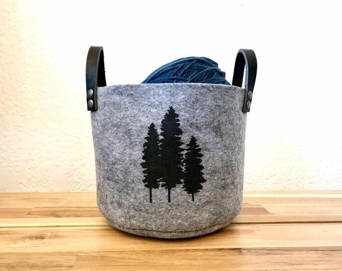 Ready to Ship - Small Gray Fir Tree Felt Fabric Bin - Felt Basket - Screen Printed Evergreen Tree Fabric Bucket