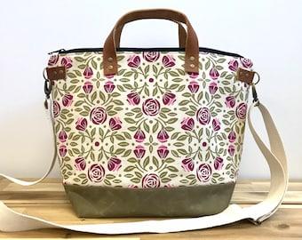 Extra large Portland Roses Waxed Canvas Shoulder Bag - Screen Printed - Knitting Bag - June Birth Month Flower - Yarn Bag - Crochet Bag -