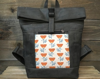 California Poppy Waxed Canvas Backpack