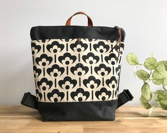 Ready to Ship - Waxed Canvas Backpack - Canvas Bag - Backpack purse - Screen Printed - Meadow Flower Pattern - Water Resistant Bag - Black a