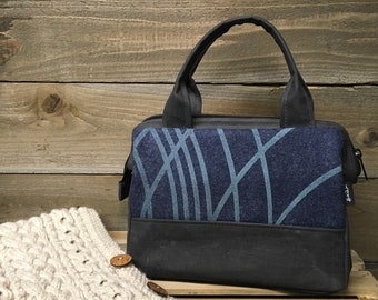 Blue Pendleton Wool Ripple Waxed Canvas Project / Cosmetic Bag