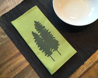 Light Green Fir Trees Cotton Napkins