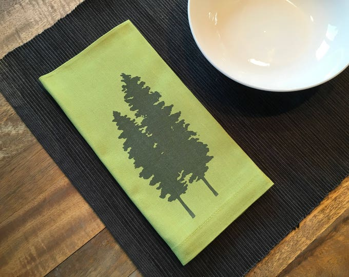 Light Green Fir Trees Cotton Napkins