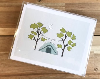Camping Greeting Cards - A2 - Set of 6 Blank Notecards - Tents