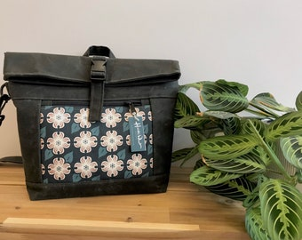 Made to Order - Waxed Canvas Cross Body Rolltop Purse - Messenger Bag - Canvas Bag - Screen Printed - Dogwood Print - Water Resistant -