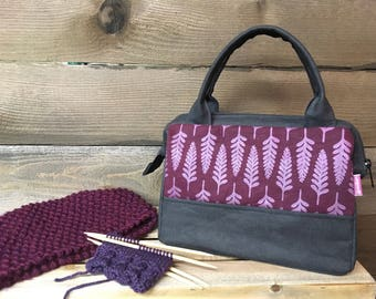 Burgundy Fern Waxed Canvas Project Bag / Cosmetic Bag