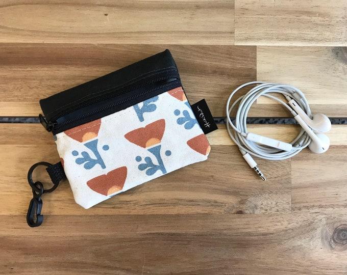 Mini Pouch - California Poppy Zipper Pouch - Zipper Wallet - Screen Printed - Poppy - Earbud Pouch