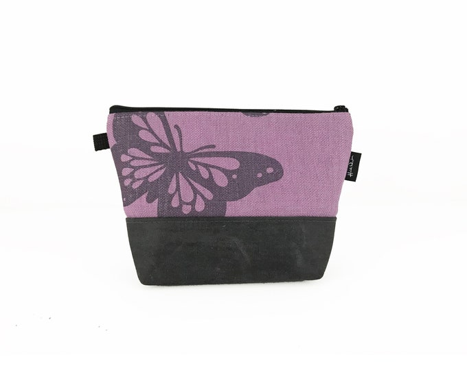 Lavender Butterfly Waxed Canvas Zipper Pouch