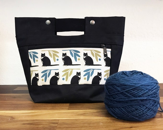 Tuxedo Cat Snap Project Bag / Bucket Tote - Waxed Canvas - Screen Printed - Hand Printed - Project Bag - Knitting - Crocheting