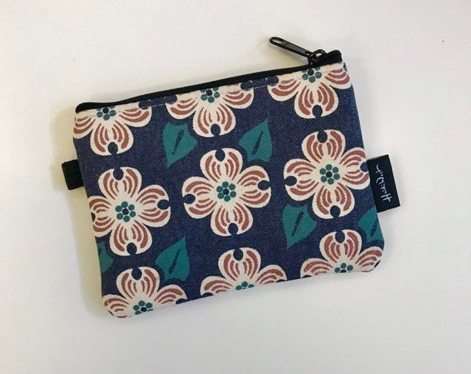 Dogwood Zipper Pouch - Zipper Wallet - Screen Printed - Dogwood Flower - Navy Blue Zipper Pouch