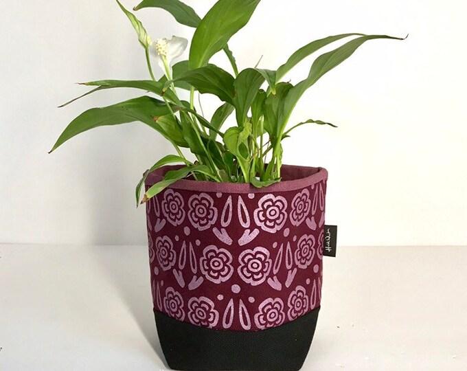 Ready to Ship - Burgundy Block Flower Fabric Bin - Soft Pot - Canvas Bin - Screen Printed Fabric Bin / Soft Pot - 4 inch