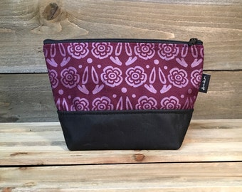 Burgundy Block Flower Waxed Canvas Zipper Pouch