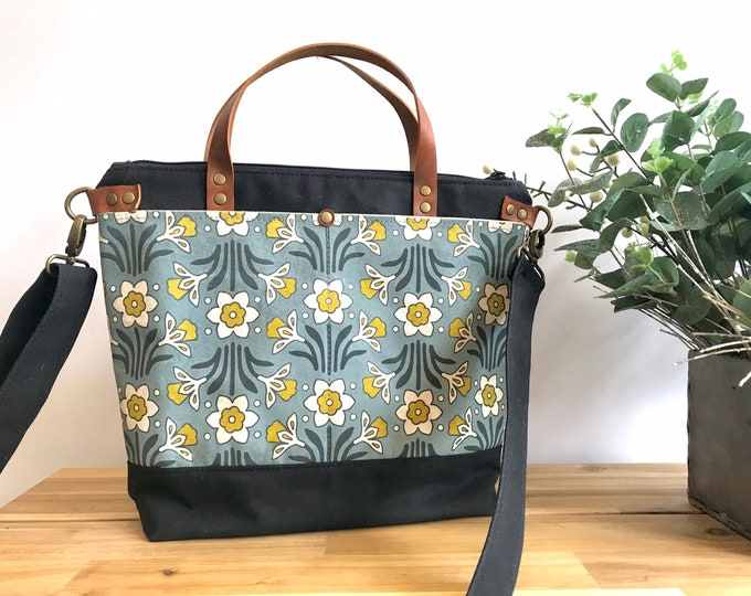 Large Waxed Canvas Purse - Daffodil Pattern Bag - Large Cross Body Messenger Purse - Screen Printed Bag - Water Resistant