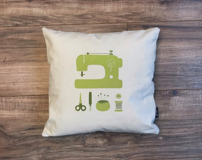 Ready to Ship - Sewing Throw Pillow with Screen Printed Sewing Tools - Includes Pillow Insert - 12 x 12 inches