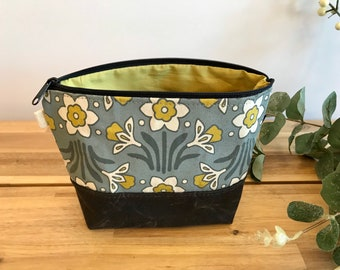 Daffodil Pattern Zipper Pouch - Waxed Canvas - Cosmetic Bag - Screen Printed - Hand Printed - March Birthday - Birth Mont