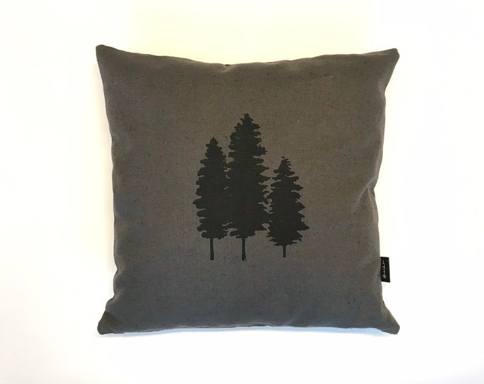 Ready to Ship - Warm Gray Throw Pillow with Screen Printed Fir Tree - Includes Pillow Insert - 12 x 12 inches