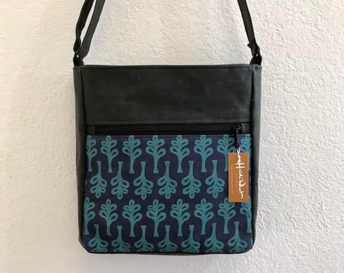 Navy/Teal Curly Tree Print Waxed Canvas Cross Body Bag