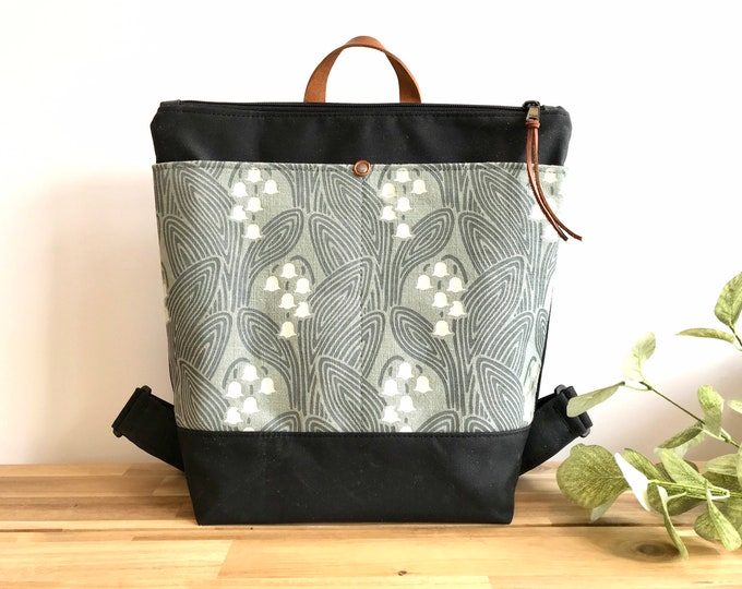 Ready to Ship - Waxed Canvas Backpack - Canvas Bag - Backpack purse - Screen Printed - Lily of the Valley Pattern - Water Resistant Bag -May