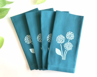 Hydrangea Napkins - Cloth Napkins - Dinner Napkins with Screen Printed Flowers - Set of 4 - Teal - Housewarming Gift