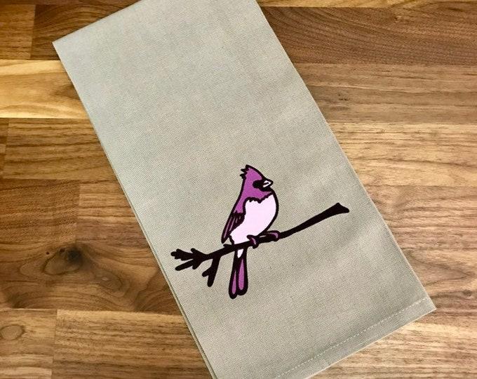 Cardinal Printed Tea Towel - Cotton - Gray - Housewarming Gift - Bird Towel