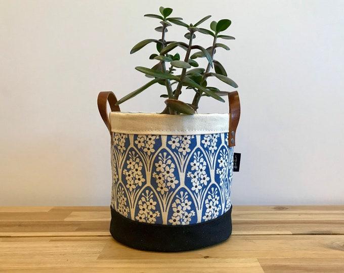 Larkspur Fabric Bin - Plant Bin - July Birth Month - Screen Printed Fabric Bucket - Gift for July