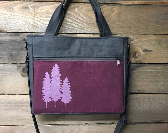Wine/Maroon Fir Trees Extra Large Waxed Canvas Tote Bag