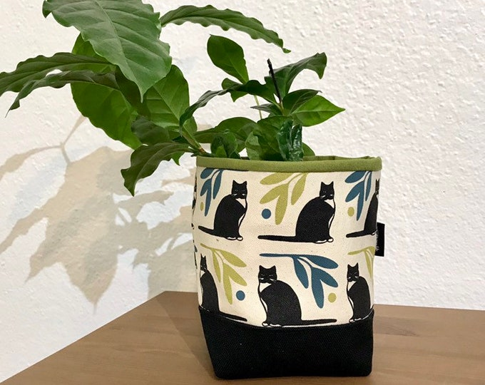Ready to Ship - Tuxedo Cat Fabric Bin - Cat Soft Pot - Canvas Bin - Screen Printed Cat Fabric Bin / Soft Pot - 4 inch
