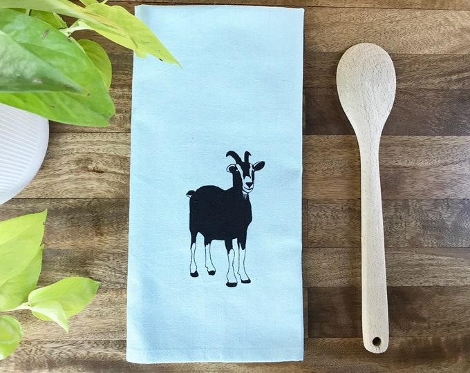 Light Blue Goat Hand Printed Tea Towel