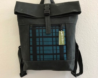 Teal/Black Plaid Waxed Canvas Backpack