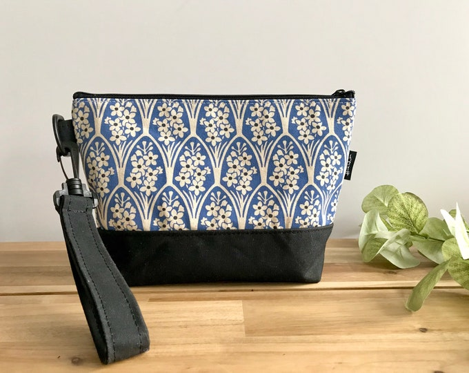 Large Larkspur Pattern Zipper Pouch - Waxed Canvas - Cosmetic Bag - Screen Printed - Hand Printed - July Birthday - Birth Month Flower