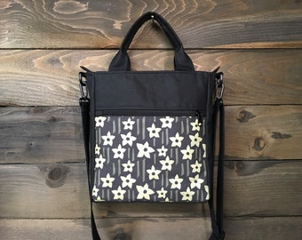 Charcoal Gray Daffodil Waxed Canvas Tote Bag