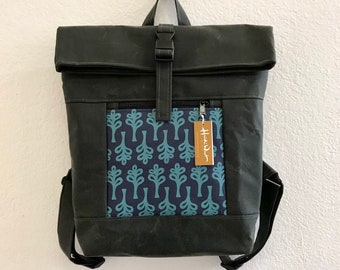 Navy/Teal Curly Tree Print Waxed Canvas Backpack