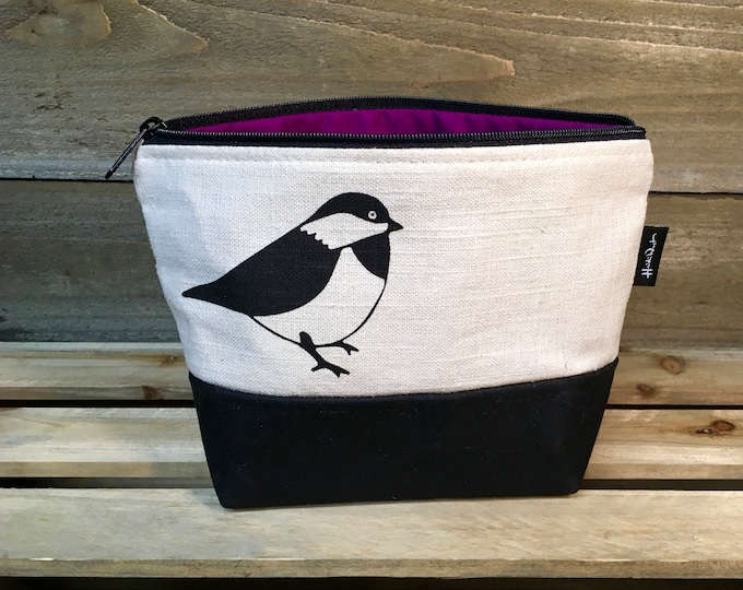 Off-White Chickadee Waxed Canvas Zipper Pouch