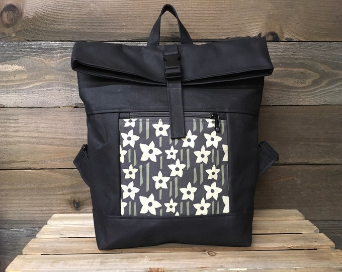 Charcoal Gray Daffodil Waxed Canvas Rolltop Backpack